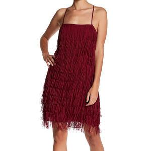 NWD Nicole Miller Chiffon Fringe Cocktail Dress